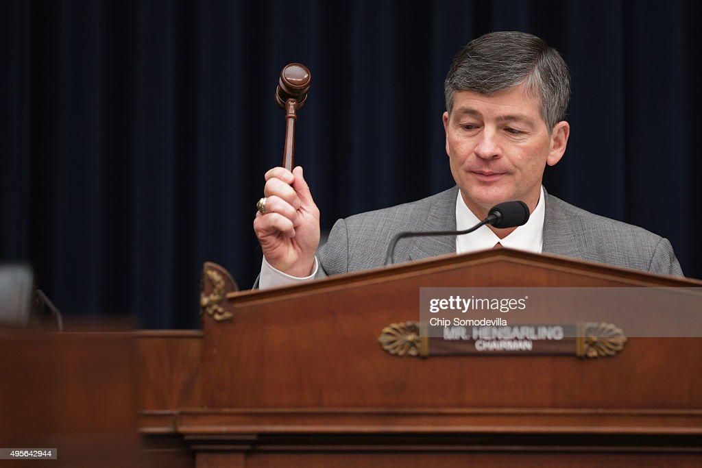 House Financial Services Committee Chairman <a gi-track='captionPersonalityLinkClicked' href=/galleries/search?phrase=Jeb+Hensarling&family=editorial&specificpeople=4367462 ng-click='$event.stopPropagation()'>Jeb Hensarling</a> (R-TX) lowers the gavel on a hearing where Federal Reserve Chair Janet Yellen House testified in the Rayburn House Office Building November 4, 2015 in Washington, DC. Because the Obama administration has yet to appoint a vice chairman for supervision at the Federal Reserve -- as madated by the Dodd-Frank Law -- Yellen is assuming the semi-annual duty for reporting to the committee on the Fed's 'supervision and regulation of the financial system.'