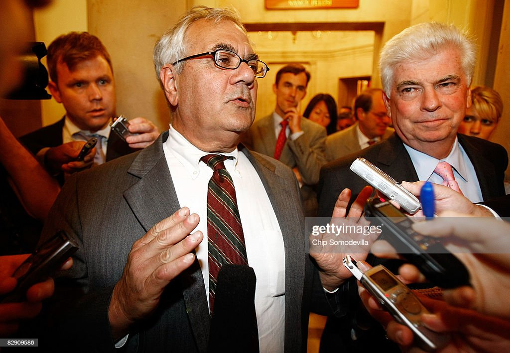 House Financial Services Committee Chairman Rep. Barney Frank (D-MA) (L) and Senate Banking Committee Chairman Sen. Christopher Dodd (D-CT) (R) talk with reporters after a meeting with financial leaders from the Bush Administration at the U.S. Capitol September 18, 2008 in Washington, DC. Treasury Secretary Henry Paulson, Fed Chairman Ben Bernanke and Securities and Exchange Commission Chairman Christopher Cox were on Capitol Hill to brief lawmakers on the latest efforts by the government to stem the recent Wall Street fear and the resulting financial crisis.