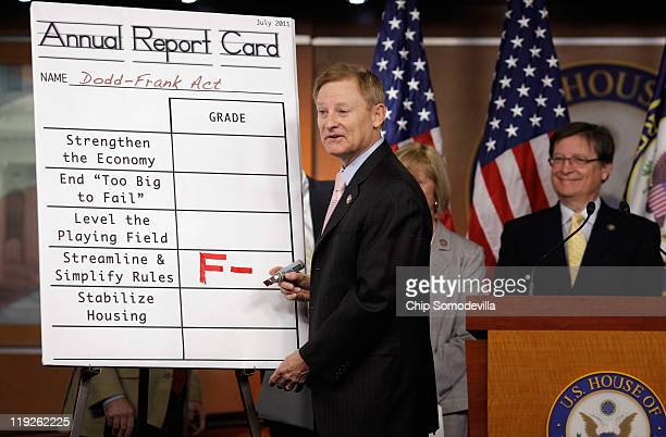 House Financial Services Committee Chairman Spencer Bachus adds a grade of F to a 'report card' for the DoddFrank Act one year after the legislation...