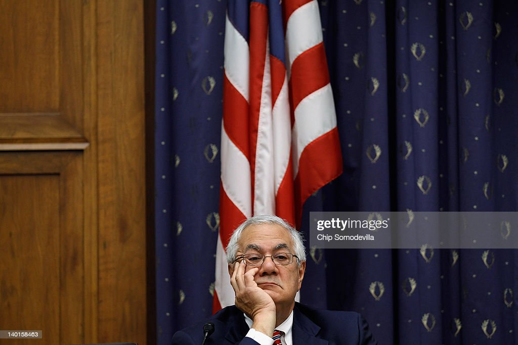 House Financial Services ranking member U.S. Rep. Barney Frank (D-MA) listens to testimony from Federal Reserve Bank Board Chairman Ben Bernanke on Capitol Hill February 29, 2012 in Washington, DC. Bernanke was testifying about the Fed's Semiannual Monetary Policy Report.