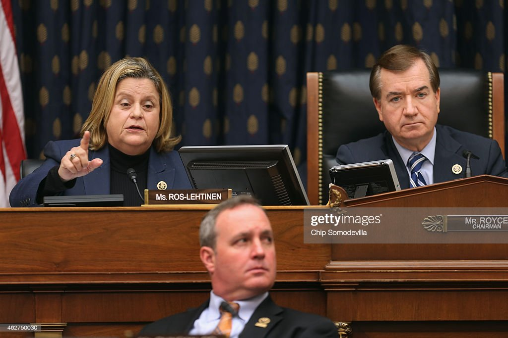 House Foreign Affairs Committee member Rep. <a gi-track='captionPersonalityLinkClicked' href=/galleries/search?phrase=Ileana+Ros-Lehtinen&family=editorial&specificpeople=588095 ng-click='$event.stopPropagation()'>Ileana Ros-Lehtinen</a> (L) uses her alloted five minutes to question witnesses without leaving time for answers during a hearing about Cuba policy with committee Chairman Ed Royce (R-CA) (R) and Rep. Jeff Duncan (D-SC) in the Rayburn House Office Building on Capitol Hill February 4, 2015 in Washington, DC. The committee heard testimony on the impact of U.S. policy changes toward Cuba and Assistant Secretary of State For Western Hemisphere Affairs Roberta Jacobson's recent trip to Havana to begin the reestablishment of diplomatic ties between the former Cold War enemies.
