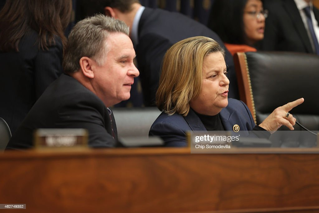 House Foreign Affairs Committee members Rep. Chris Smith (R-NJ) (L) and Rep. Ileana Ros-Lehtinen (R-FL) talk before a hearing about Cuba policy in the Rayburn House Office Building on Capitol Hill February 4, 2015 in Washington, DC. The committee heard testimony on the impact of U.S. policy changes toward Cuba and about Assistant Secretary of State Roberta Jacobson's recent trip to Havana to begin the reestablishment of diplomatic ties between the former Cold War enemies.