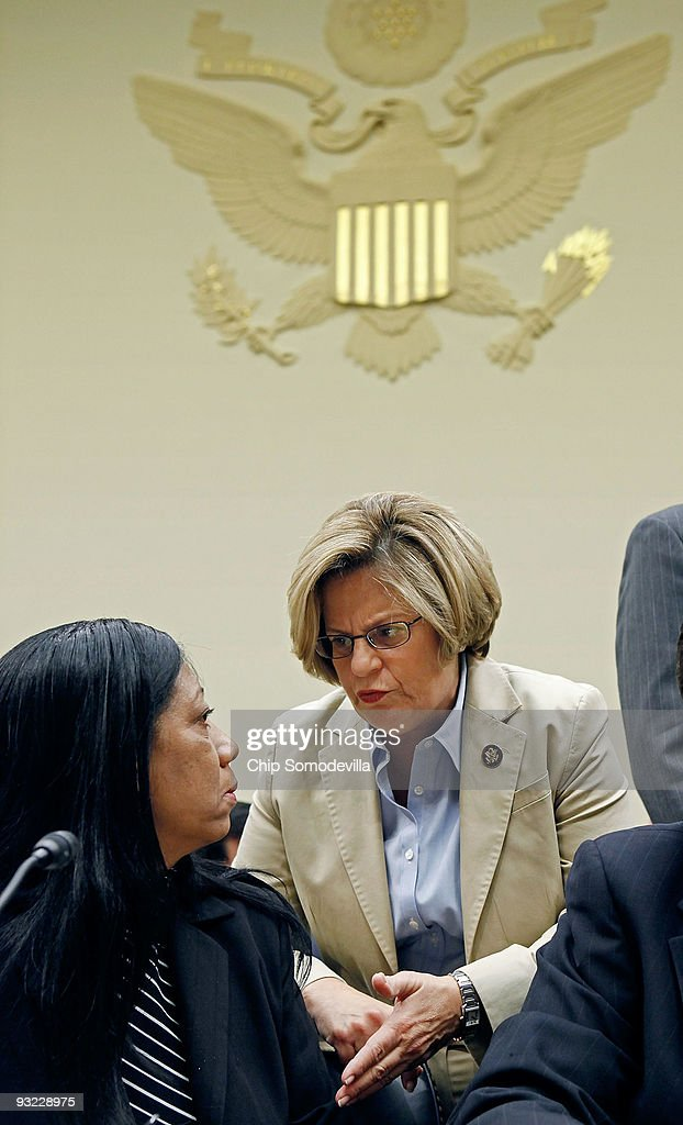 House Foreign Affairs Committee ranking member Rep. <a gi-track='captionPersonalityLinkClicked' href=/galleries/search?phrase=Ileana+Ros-Lehtinen&family=editorial&specificpeople=588095 ng-click='$event.stopPropagation()'>Ileana Ros-Lehtinen</a> (R-FL) (R) counsels Cuban citizen Berta Antunez (L), sister of Cuban pro-democracy activist Jorge Luis Garcia Perez, before Antunez testifies before the committee during a hearing on the travel ban for U.S. citizens to Cuba on Capitol Hill November 19, 2009 in Washington, DC. The committee heard from witnesses on both sides of the issue as Congress gears up for a battle over Cuba policy, with proponents saying they have their best chance in years of repealing the decades-old ban on U.S. tourist travel to the island.