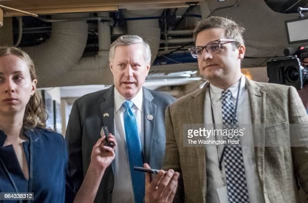 WASHINGTON DC House Freedom Caucus Chairman Mark Meadows rushes away from media after a Republican Conference meeting on Capitol Hill in Washington...