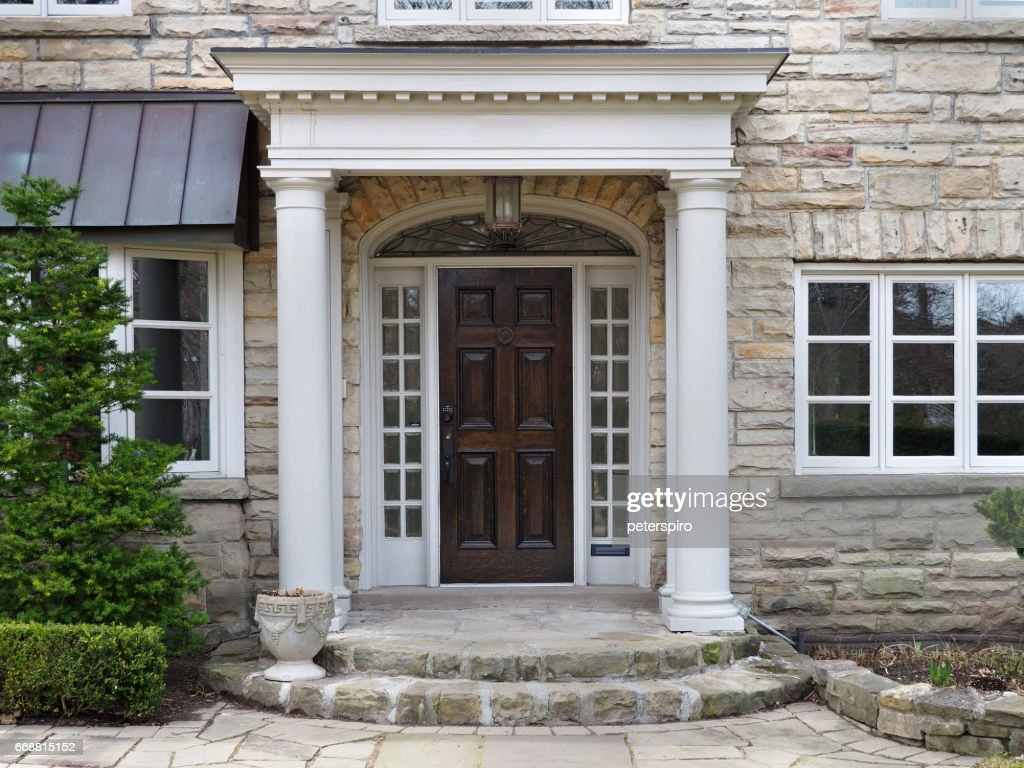 house front door with portico entrance  Stock Photo & House Front Door With Portico Entrance Stock Photo | Thinkstock