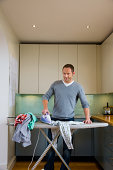 A house husband ironing