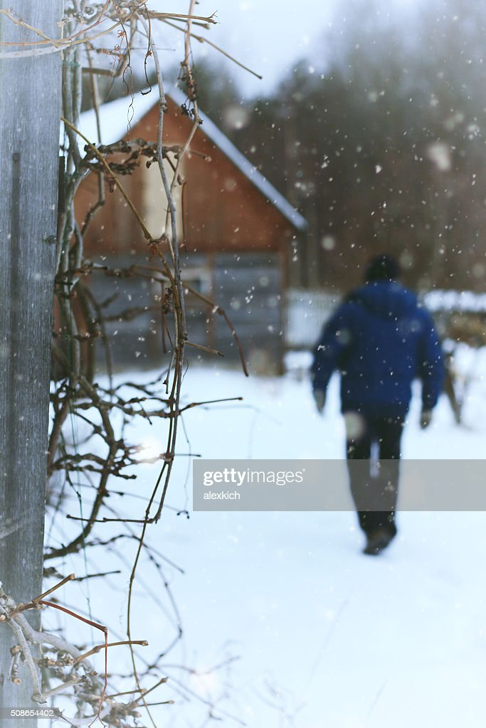 house in country rural Winter : Stock Photo