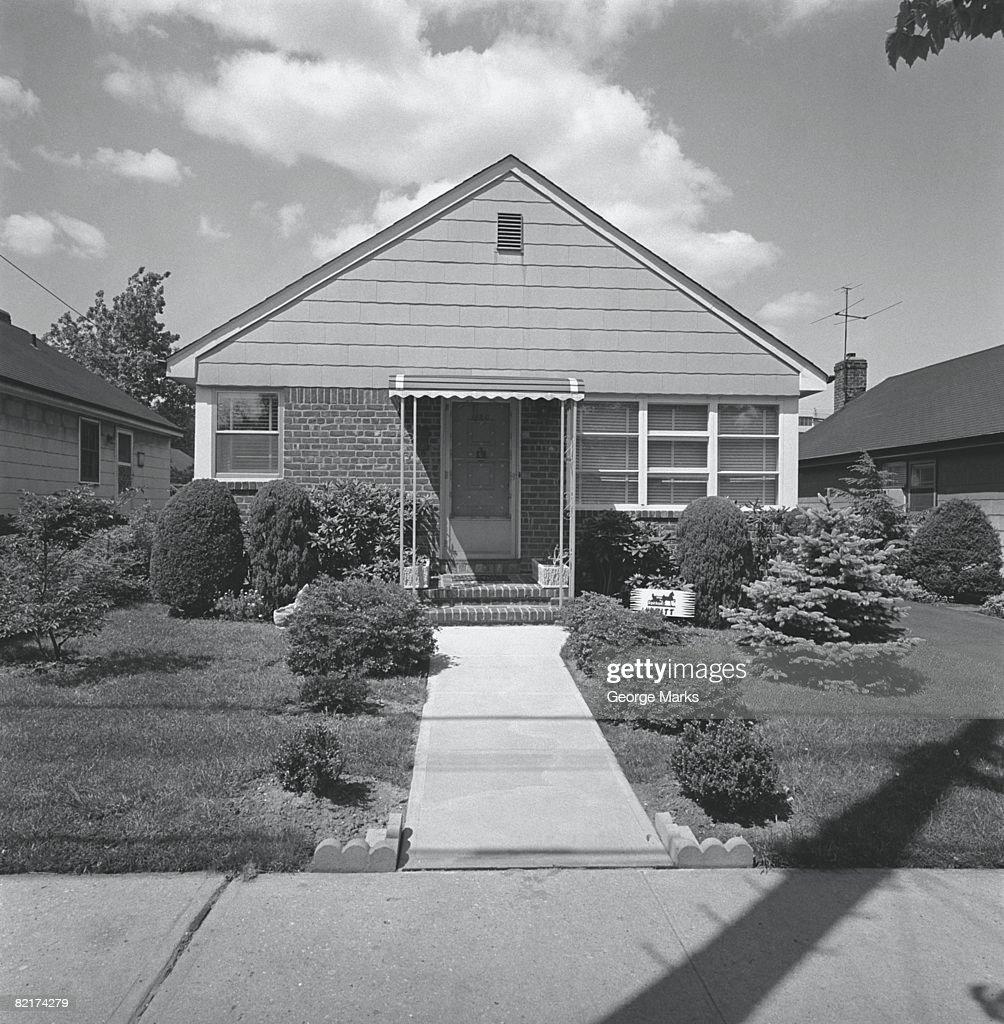House in suburban area, (B&W) : Stock Photo