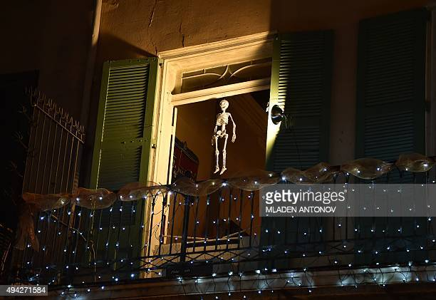 A house in the French Quarter of New Orleans Louisiana wears special decorations on October 18 2015 as the city prepares to celebrate Halloween AFP...