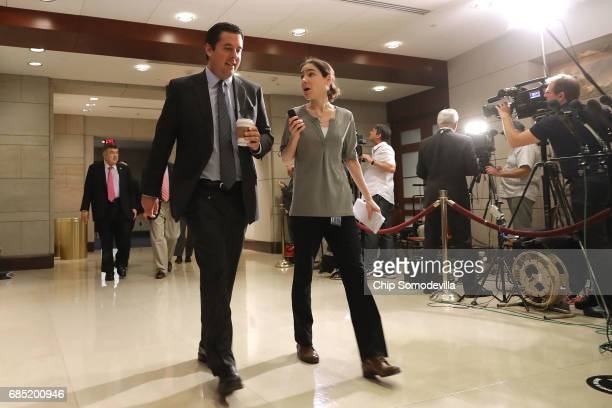 House Intelligence Committee Chairman Devin Nunes is questioned by a reporter as he heads into a meeting with Deputy US Attorney General Rod...