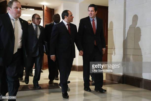 House Intelligence Committee Chairman Devin Nunes leaves a meeting with Egyptian President Abdel Fattah Al Sisi in the basement of the Capitol...