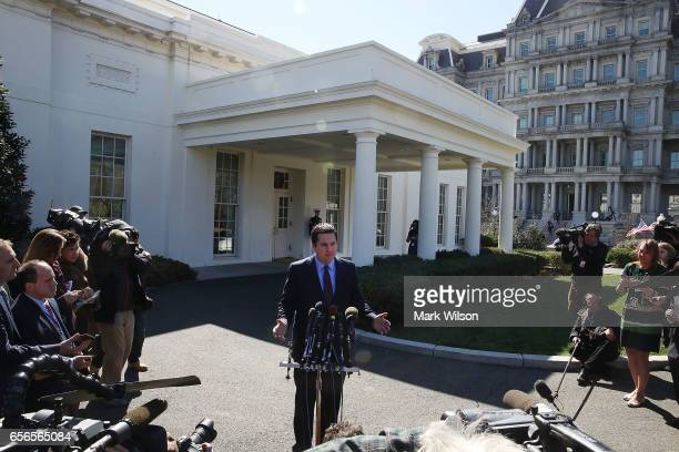 House Intelligence Committee Chairman Devin Nunes speaks to reporters after a meeting at the White House March 22 2017 in Washington DC Nunes said...