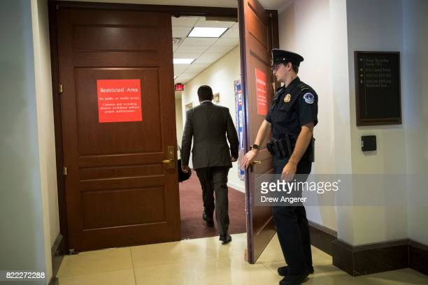 House Intelligence Committee Chairman Rep Devin Nunes who previously had recused himself from the panel's Russia investigation arrives ahead of White...