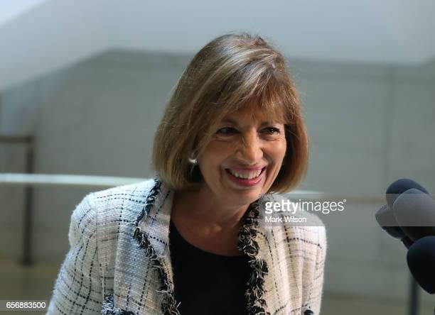 House Intelligence Committee member Rep Jackie Speier speaks to reporters after leaving a closed meeting with fellow committee members on Capitol...