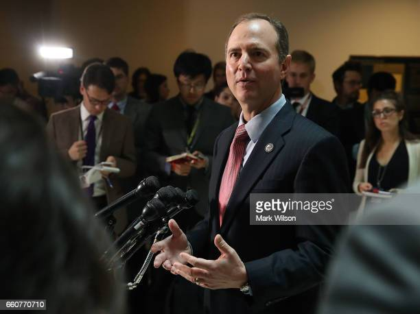 House Intelligence Committee ranking member Adam Schiff speaks to the media about the committee's investigation into alleged Russian interference in...
