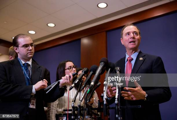 S House Intelligence Committee ranking member Adam Schiff speaks to the media after White House officials briefed members of the House of...