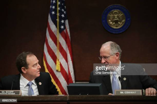 House Intelligence Committee ranking member Rep Adam Schiff and Rep Mike Conaway who is heading the committee's investigatoin into the Russian...