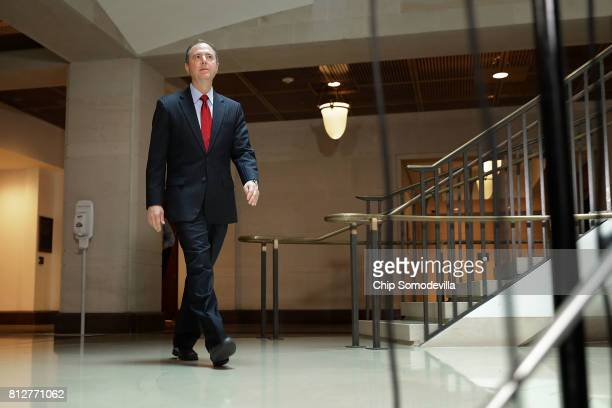 House Intelligence Committee ranking member Rep Adam Schiff arrives to talk with reporters about the recent disclosure of a meeting between Donald...