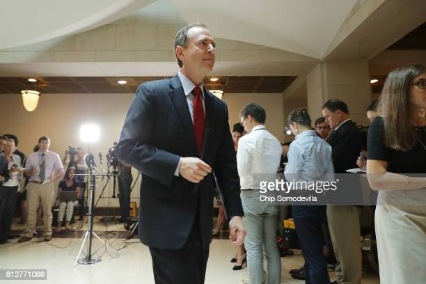 House Intelligence Committee ranking member Rep Adam Schiff leaves after talking with reporters about the recent disclosure of a meeting between...