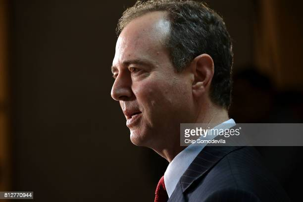 House Intelligence Committee ranking member Rep Adam Schiff speaks to reporters about the recent disclosure of a meeting between Donald Trump Jr and...