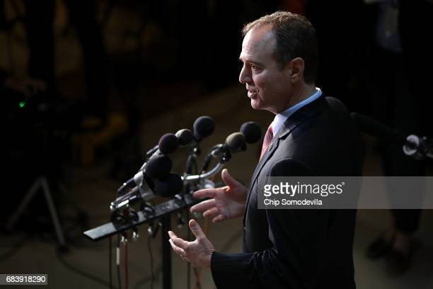 House Intelligence Committee ranking member Rep Adam Schiff talks to reporters following a closeddoor meeting with CIA Director Mike Pompeo at the US...