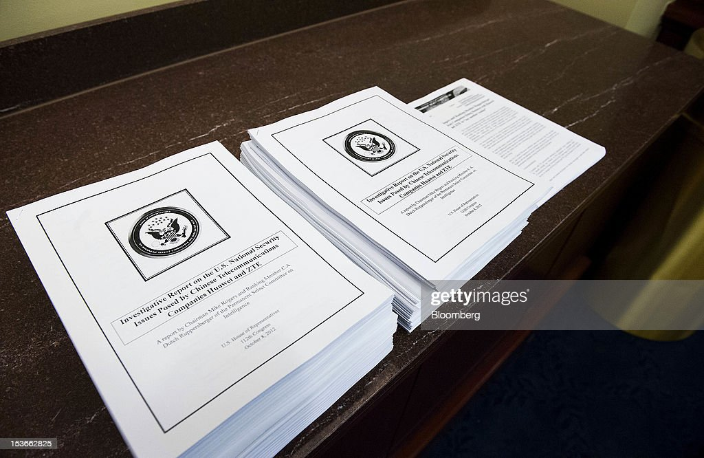 A House Intelligence Committee report sits on display during a news conference in Washington, D.C., U.S., on Monday, Oct. 8, 2012. U.S. companies should avoid business with Huawei Technologies Co., China's largest phone-equipment maker, to guard against intellectual-property theft and spying, the U.S. House Intelligence Committee chairman said. Photographer: Jay Mallin/Bloomberg via Getty Images