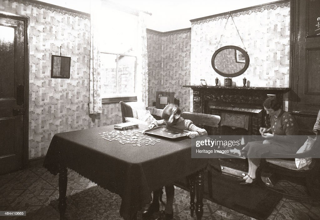 House Interior Dining Room York Yorkshire 1940 A Girl Sits At