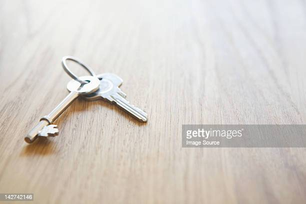 House keys on a table