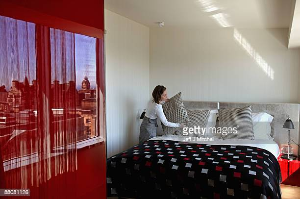 A house made makes a bed in the new Hotel Missoni on May 31 2009 in Edinburgh Scotland Hotel Missoni Edinburgh is the first property to be unveiled...