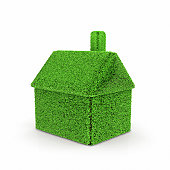 House made of green gras on white background