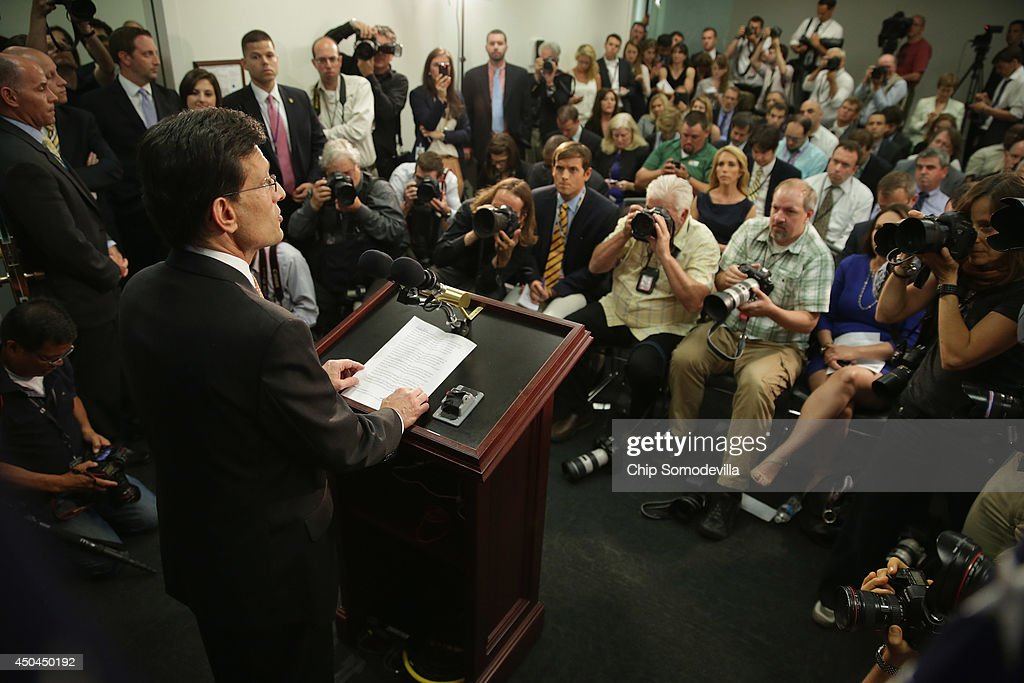 House Majority Leader Eric Cantor addresses a news conference after telling the Republican caucus that he will resign his post at the US Capitol June...