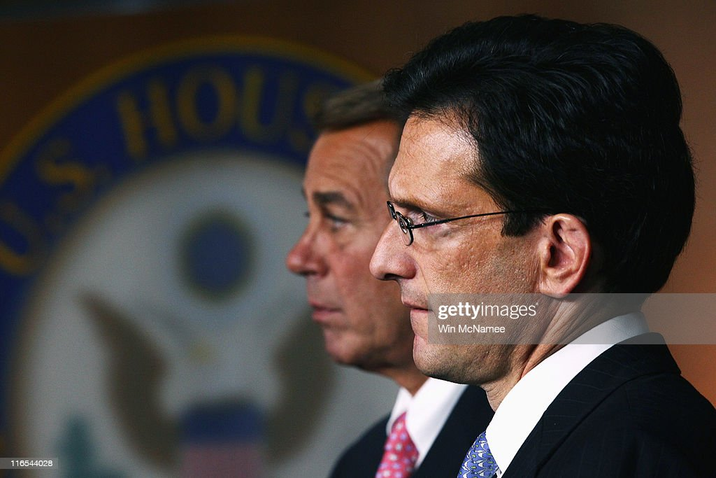 House Majority Leader <a gi-track='captionPersonalityLinkClicked' href=/galleries/search?phrase=Eric+Cantor&family=editorial&specificpeople=653711 ng-click='$event.stopPropagation()'>Eric Cantor</a> (R-VA) and Speaker of the House <a gi-track='captionPersonalityLinkClicked' href=/galleries/search?phrase=John+Boehner&family=editorial&specificpeople=274752 ng-click='$event.stopPropagation()'>John Boehner</a> (R-OH) attend a Republican news conference on job creation on June 16, 2011 in Washington, DC. The news conference was held to mark the anniversary of the Democrats 'Recovery Summer.'
