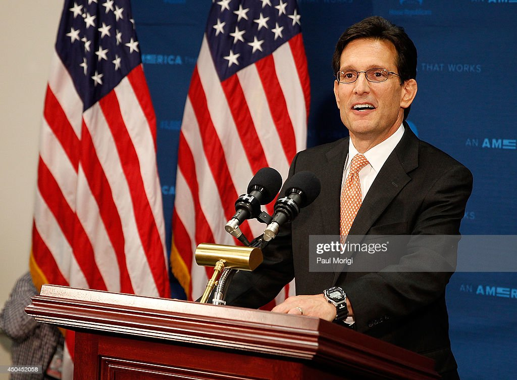 House Majority Leader Eric Cantor (R-VA) announces that he will resign his leadership position in the House of Representatives on July 31, after having lost a primary race to Tea Party-backed college professor David Brat, during a press confernce at United States Capitol Building on June 11, 2014 in Washington, DC.