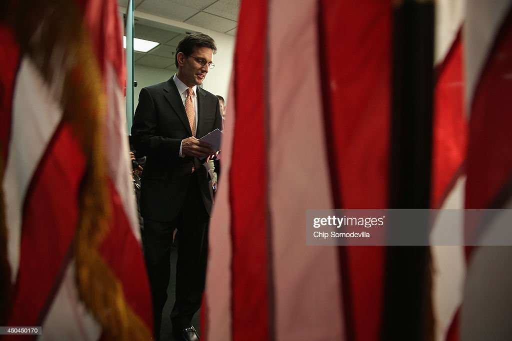 House Majority Leader Eric Cantor (R-VA) arrives for a news conference after telling the Republican caucus that he will resign his post at the U.S. Capitol June 11, 2014 in Washington, DC. Cantor announced that he will resign his leadership position in the House of Representatives on July 31 after losing a primary race to Tea Party-backed college professor David Brat.