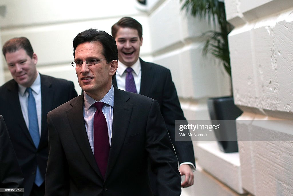 House Majority Leader <a gi-track='captionPersonalityLinkClicked' href=/galleries/search?phrase=Eric+Cantor&family=editorial&specificpeople=653711 ng-click='$event.stopPropagation()'>Eric Cantor</a> (R-VA) (C) arrives for a Republican conference meeting at the U.S. Capitol on January 4, 2013 in Washington, DC. The House of Representatives is expected to vote later today on an aid package for those impacted by Hurricane Sandy.