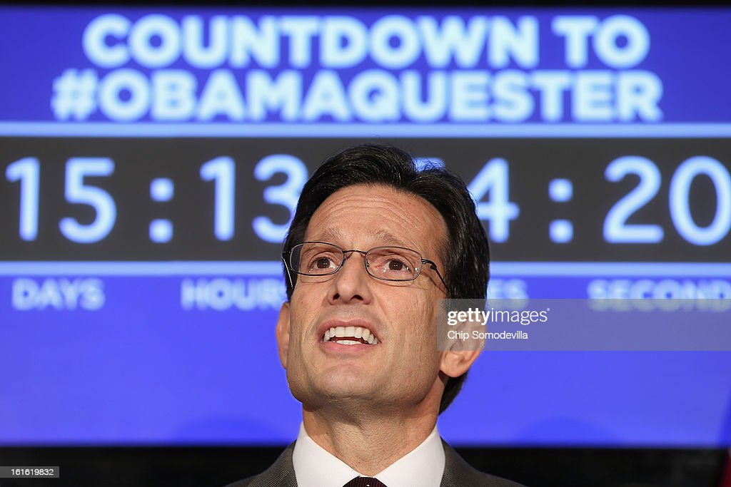 House Majority Leader Eric Cantor delivers remarks during a news conference with fellow House GOP leaders at the Republican Party Headquarters on...