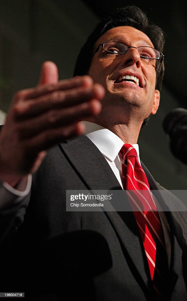House Majority Leader <a gi-track='captionPersonalityLinkClicked' href=/galleries/search?phrase=Eric+Cantor&family=editorial&specificpeople=653711 ng-click='$event.stopPropagation()'>Eric Cantor</a> (R-VA) make remarks during a brief news conference after a House GOP caucus meeting at the U.S. Capitol December 19, 2011 in Washington, DC. Speaker of the House John Boehner (R-OH) said he expects the House to reject a short-term plan to extend the tax cuts for another two months that passe the Senate last week.