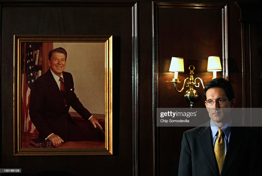 House Majority Leader Eric Cantor participates in a news conference at the Republican National Committee offices on Capitol Hill December 7 2011 in...
