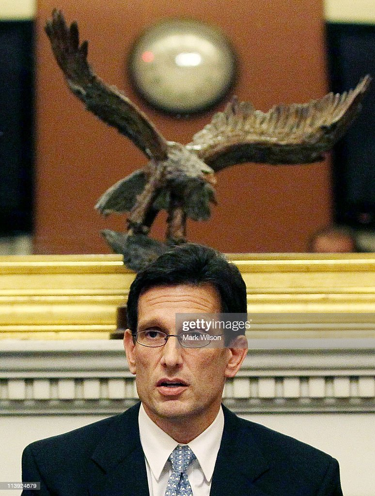 House Majority Leader <a gi-track='captionPersonalityLinkClicked' href=/galleries/search?phrase=Eric+Cantor&family=editorial&specificpeople=653711 ng-click='$event.stopPropagation()'>Eric Cantor</a> (R-VA) participates in Pen and Pad session with reporters in his office at the U.S. Capitol on May 10, 2011 in Washington, DC. Later today Mr. Cantor is scheduled to meet with Vice President Joseph Biden and a bicameral group of members of Congress to continue work on a legislative framework for comprehensive deficit reduction.
