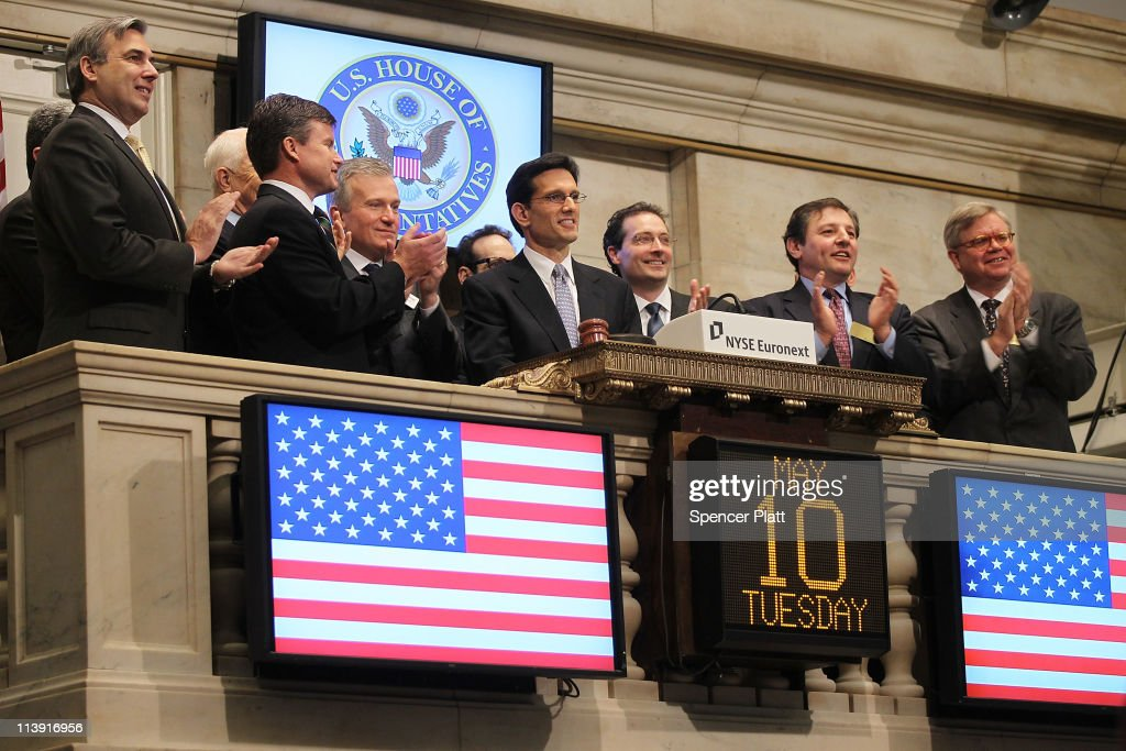 House Majority Leader Eric Cantor rings the opening bell at the New York Stock Exchange on May 10 2011 in New York City The Republican Majority...