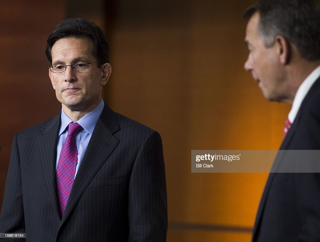 House Majority Leader Eric Cantor, R-Va., left, and Speaker of the House John Boehner, R-Ohio, hold their news conference to speak about the fiscal cliff and the failed Plan B on Friday, Dec. 21, 2012.
