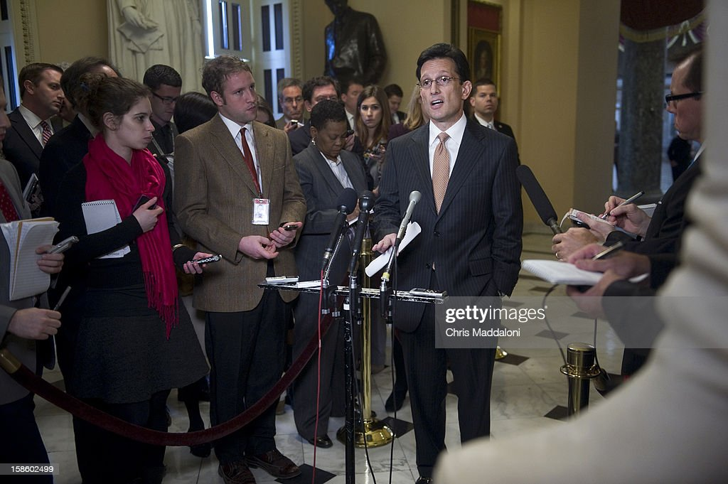 House Majority Leader Eric Cantor, R-Va., speaks at a press conference in the Capitol about the ongoing 'Fiscal Cliff' crisis. Cantor said the House would vote on their 'Plan B' today, the GOP alternative to the President's plan.