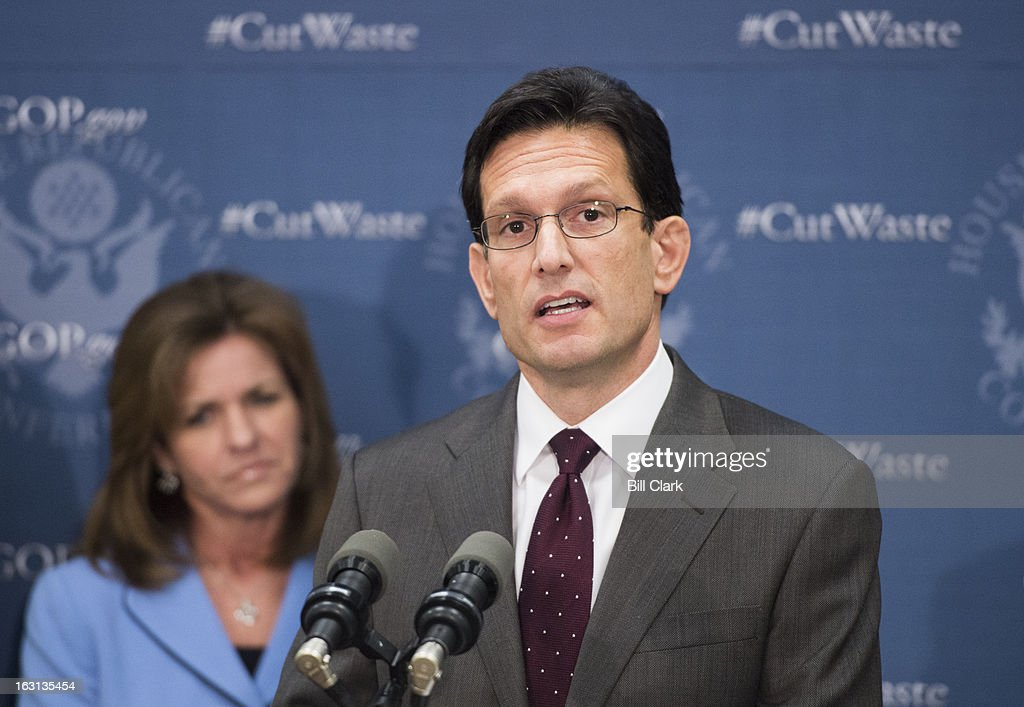 House Majority Leader Eric Cantor, R-Va., speaks during the media availability following the House Republican Conference meeting in the Capitol on Tuesday, March 5, 2013.