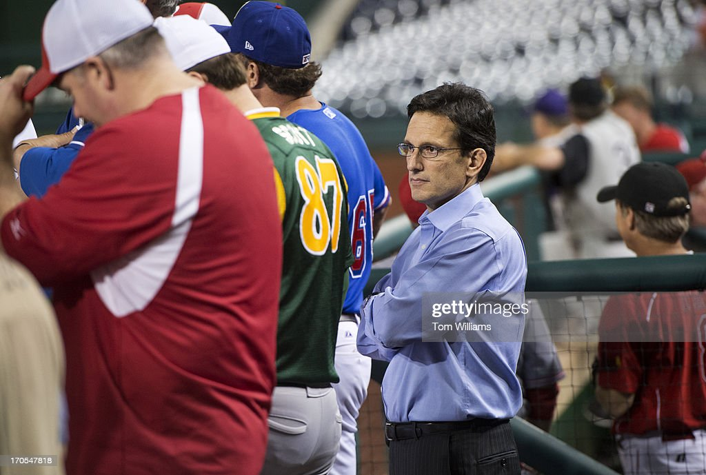 House Majority Leader Eric Cantor, R-Va., watches the Congressional Baseball game where the Democrats beat the Republicans 22-0 at Nationals Park.