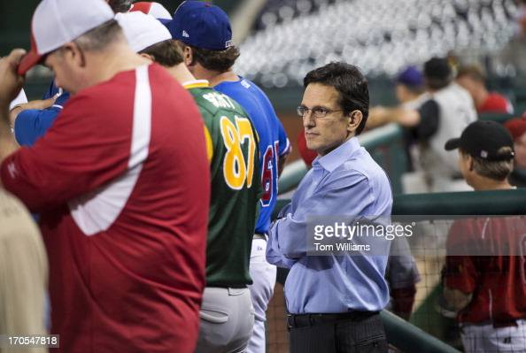House Majority Leader Eric Cantor RVa watches the Congressional Baseball game where the Democrats beat the Republicans 220 at Nationals Park