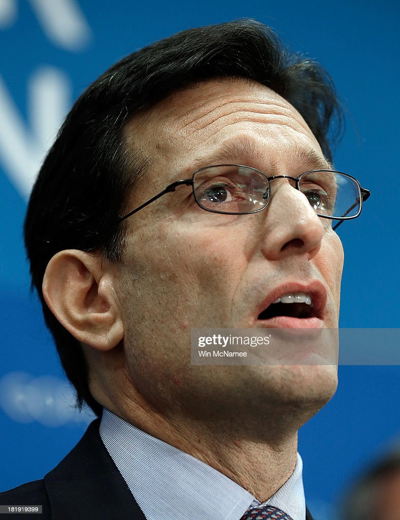 U.S. House Majority Leader <a gi-track='captionPersonalityLinkClicked' href=/galleries/search?phrase=Eric+Cantor&family=editorial&specificpeople=653711 ng-click='$event.stopPropagation()'>Eric Cantor</a> (R-VA) speaks at a press conference at the U.S. Capitol September 26, 2013 in Washington, DC. During the press conference, Speaker of the House John Boehner signaled that he is urging Republican colleagues to remain flexible in negotiations to avert a governmental shutdown when federal funding runs out next week.
