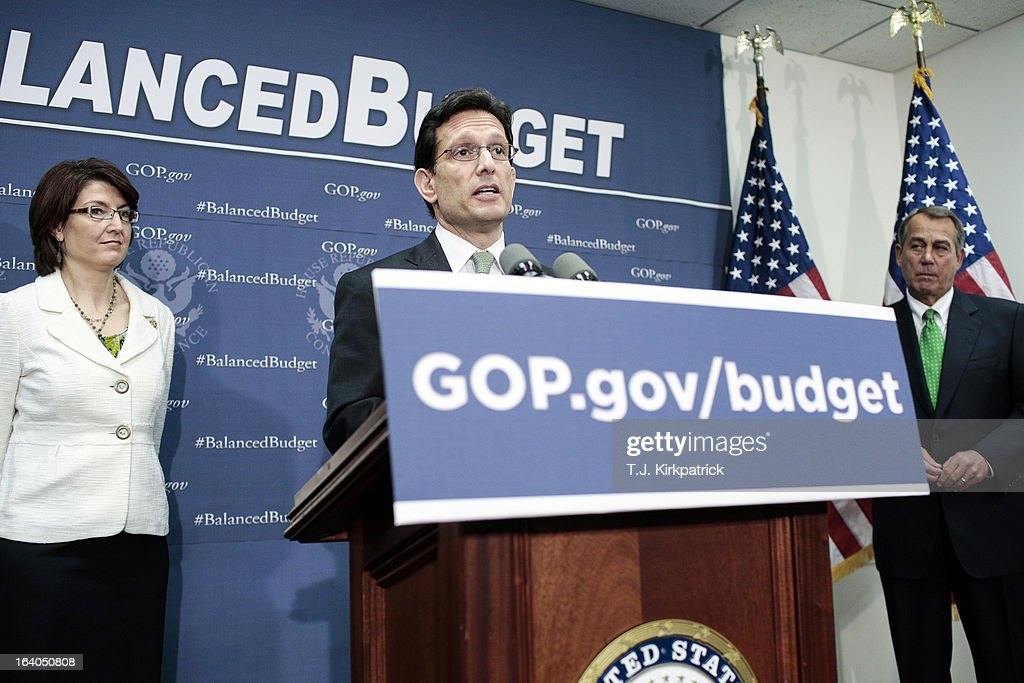 House Majority Leader <a gi-track='captionPersonalityLinkClicked' href=/galleries/search?phrase=Eric+Cantor&family=editorial&specificpeople=653711 ng-click='$event.stopPropagation()'>Eric Cantor</a> (R-VA) (C) speaks during a press conference with House GOP leaders, including House Speaker <a gi-track='captionPersonalityLinkClicked' href=/galleries/search?phrase=John+Boehner&family=editorial&specificpeople=274752 ng-click='$event.stopPropagation()'>John Boehner</a> (R-OH) (R) and House Republican Conference Chairman Cathy McMorris Rodgers (R-WA), after a party conference on March 19, 2013 in Washington, DC. GOP leaders asked that the president work with them to create a balanced budget plan, citing President Clinton's efforts to work with House Republicans on a budget in the 1990s.