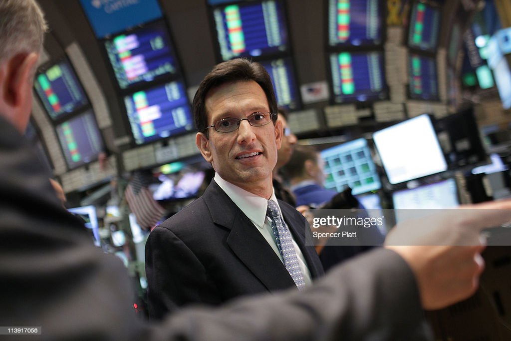 House Majority Leader Eric Cantor walks the floor of the New York Stock Exchange (NYSE) before ringing the opening bell on May 10, 2011 in New York City. The Republican Majority Leader met with business leaders before returning to Washington ahead of the continuing debt-limit fight.