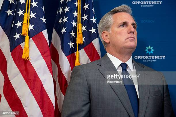 House Majority Leader Kevin McCarthy a Republican from California listens during a news conference after a House Republican Conference meeting at the...