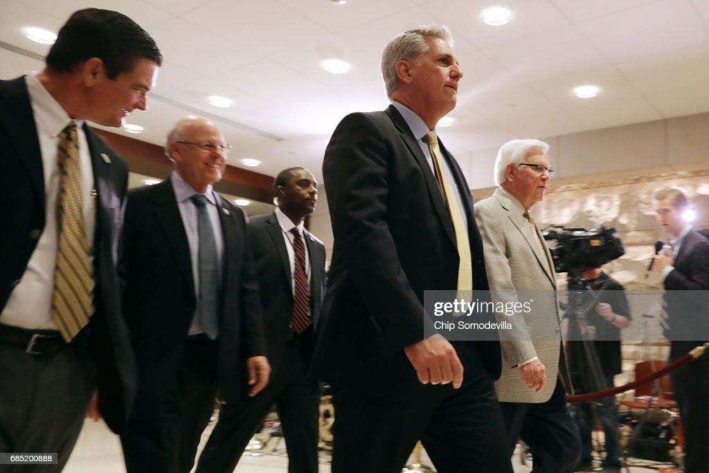 House Majority Leader Kevin McCarthy (R-CA) (2nd R) and fellow House members arrive for a meeting with Deputy U.S. Attorney General Rod Rosenstein at the U.S. Capitol May 19, 2017 in Washington, DC. Rosenstein met with senators a day earlier and was questioned about his role in the firing of former FBI Director James Comey and his appointment of former FBI Director Robert Mueller as a special counsel to investigate Russian meddling in the 2106 presidential election.